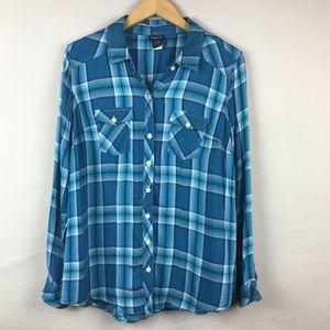 TORRID plus size Plaid Button down blouse blue